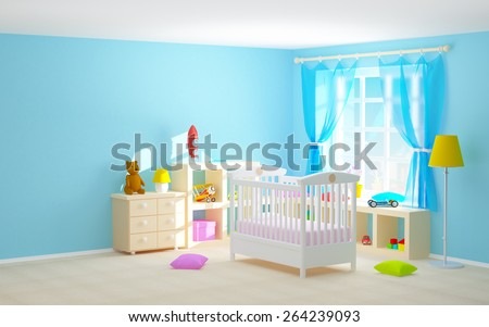 Baby s bedroom with crib  shelves with toys  commode and bear  3d  illustration. Babys Bedroom Commode Bear Pastel Colors Stock Photo 90906671