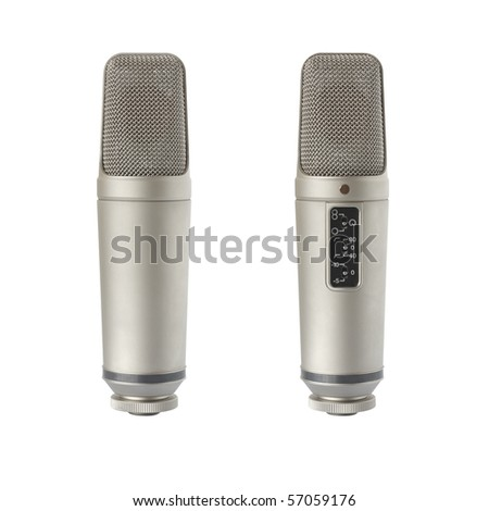 Back and front view of condenser microphone, isolated on white
