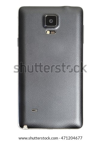 back cover of five inch black smart phone with isolate background