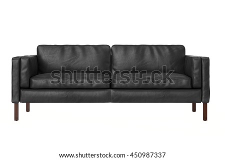 back leather sofa isolated on white background , front view