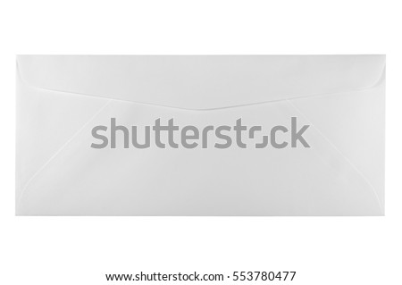 Back of an unused white letter size envelope, isolated copy space background macro closeup