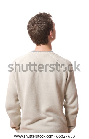 back of pensive young man looking up isolated on white background