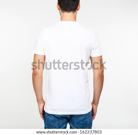 Back portrait of a model wearing a white t-shirt