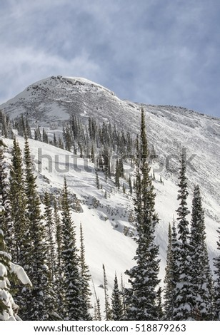 Back side of Cody peak, Wyoming.  Panoramic wide angle image.  Pristine ski conditions