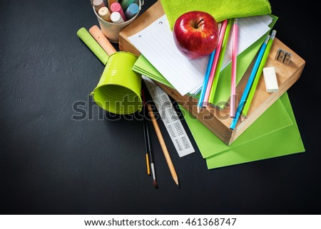 Back To School Apple Color Pencil Stationery Copy Space Design Black Chalk Blackboard Background School Supplies Concept