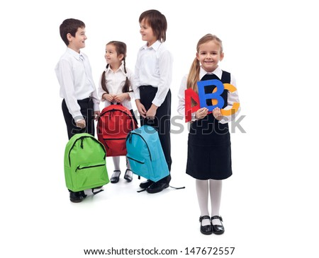 Back to school concept with a group of kids talking - isolated