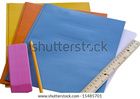 Back to School Folders and Supplies with Copy Space