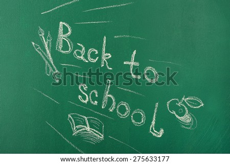 Back to school written with chalk on blackboard