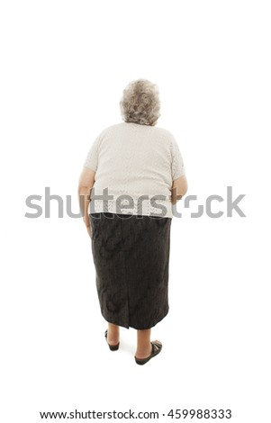 Back view of a old woman looking up. Rear view people collection. Isolated on white background
