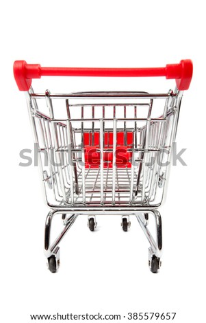 Back view of a shopping cart, isolated on white background.