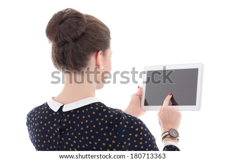 back view of beautiful business woman holding tablet pc with empty screen isolated on white background