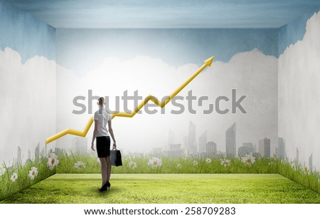 Back view of businesswoman looking at growing graph