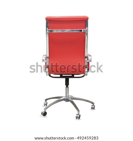back view of modern office chair from red leather. Isolated