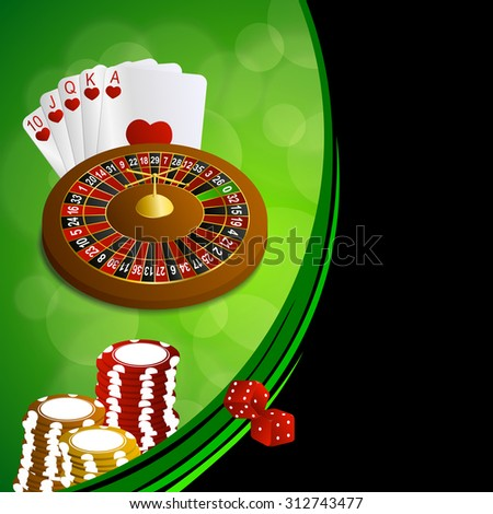 Background abstract green black casino roulette cards chips craps frame illustration