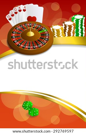 Background abstract red casino roulette cards chips craps frame vertical gold ribbon illustration