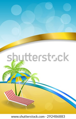 Background abstract summer beach vacation deck chair umbrella blue yellow vertical gold ribbon illustration