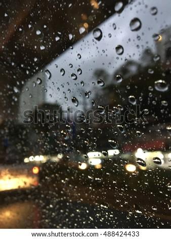Blurry Rain Drops On Car Window Stock Photo 482400562 ...