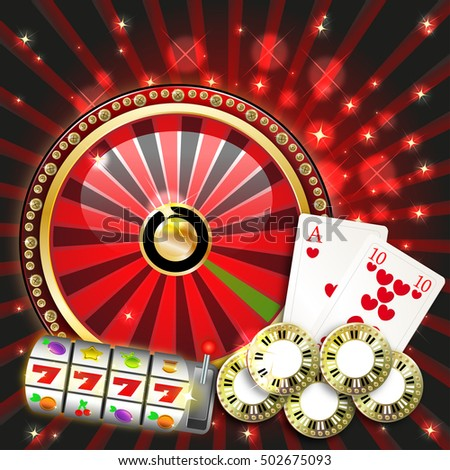 background casino with slot machine, playing cards and playing chips