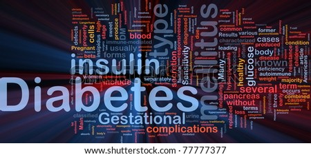 Background concept wordcloud illustration of diabetes medical disease glowing light