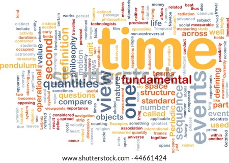 Background concept wordcloud illustration of Time events structure
