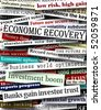 Background design of newspaper headlines about economic recovery - stock photo