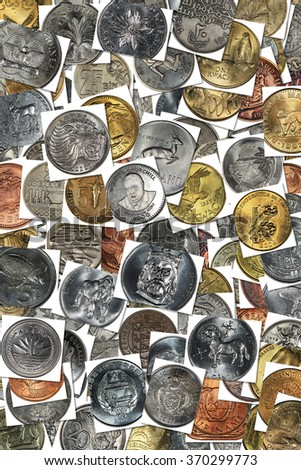 Background from coins of different countries on various subjects