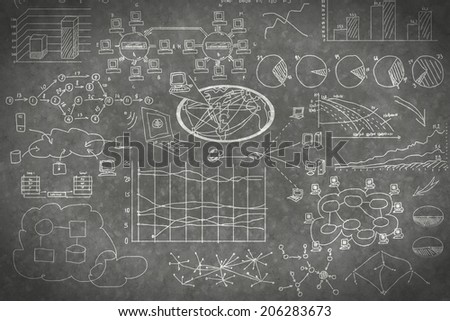 Background image with business sketches on wall