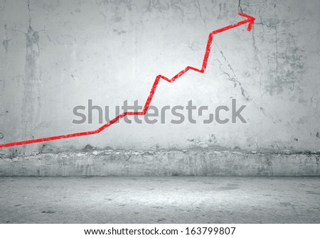 Background image with graph on wall rising up
