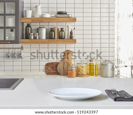 Modern Kitchen Background wooden table towel over defocused rustic stock photo 459271747
