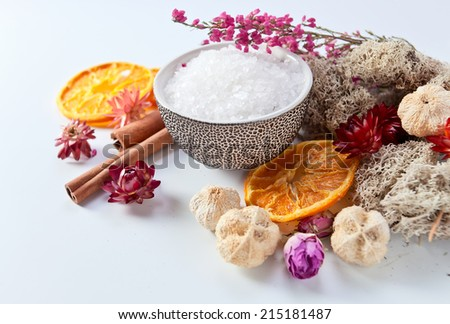 Background of a spa with dried fruits, plants and flowers