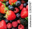 Background of assorted fresh berries close up - stock photo
