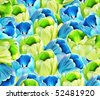 Background of blue and green tulips - stock photo