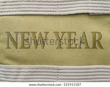 Background of burlap,  with place 2016 text.Texture natural.
