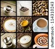 background of coffee collage - stock