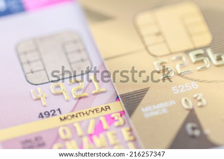 Background of credit card close-up.
