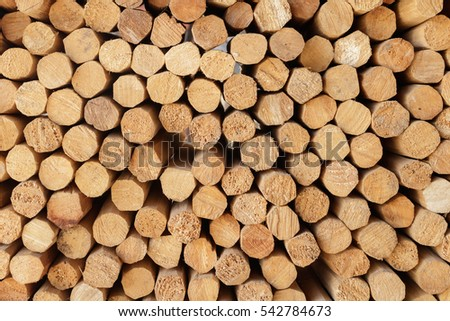 Background of cylindrical timber stacked