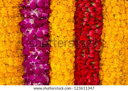 Background of flower garlands in thai style. Thailand.
