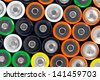 Background of many AA batteries - stock photo