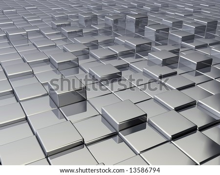 Background of metallic cubes - rendered in 3d