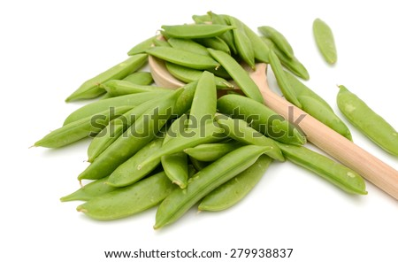 background of snap peas isolated on white