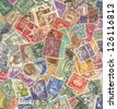 Background of stamps mail of the different countries. - stock photo
