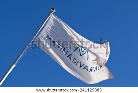 Background of the flag of the Varazze Yacht Club, Varazze, Savona, Liguria, Italy