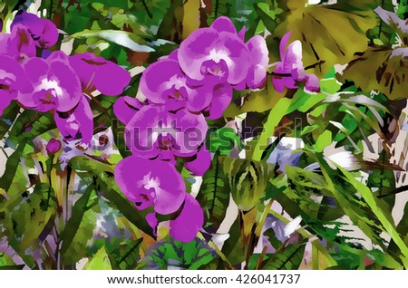 Background. Orchids, tropical forest, jungle.Stylization: watercolor.
