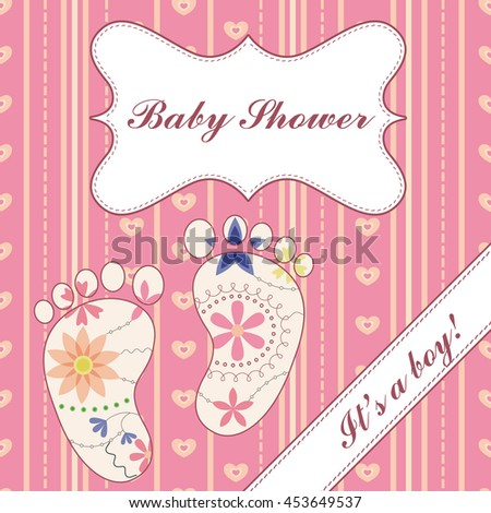 background with banner and feet baby shower girl vintage rasterized copy