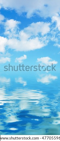 background with blue sky and water
