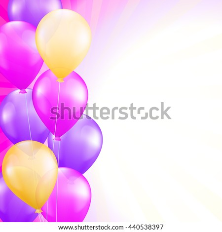 background with bright pink and yellow balloons as a border. raster