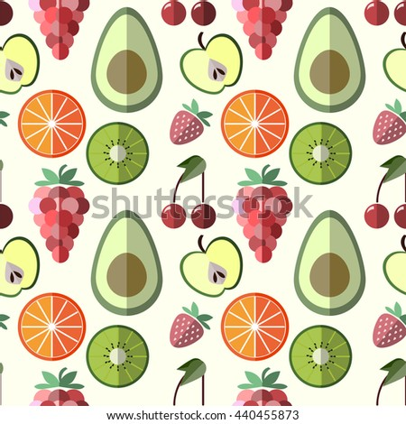 background with different fruits . Great for restaurant menu backdrop, healthy food concept, juice bar illustration. Vegetarian colorful texture. Great summer tile.