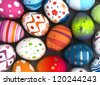 Background with Easter Eggs (Computer generated image) - stock photo