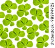 background with four element clover leaves isolated on white - stock photo