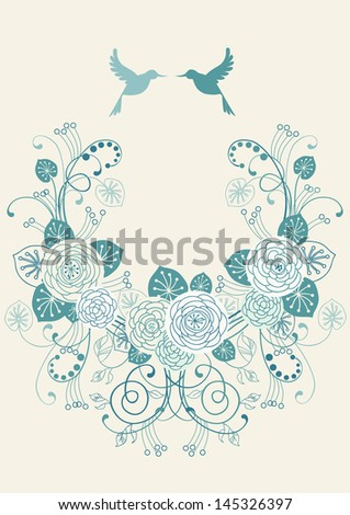 Background with frame of flowers, leaves, couple of birds. Crown of branches of blooming white roses. Invitation greeting card in tints of blue. Romantic abstract decorative illustration with text box